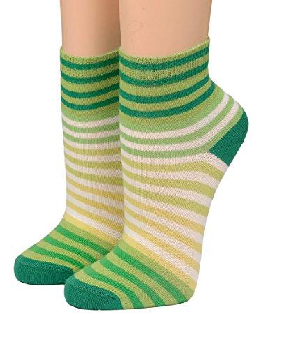 CRÖNERT Socken Kurzsocken Söckchen Multiringel bunte Ringel mit Weichb& 165802 (35-38, hellgrün)