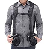 Double Shoulder Camera Strap Harness Quick Release Adjustable Dual Camera Tether Strap and Safety Tether for...