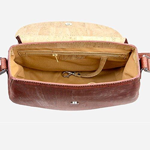 Corkor Veganer Schultertasche Böhmischen Umhängetasche Damen Geldbeutel Handtasche Natur-Leder Natur - Saddle Bag - Beuteltasche aus Veganem Leder Rot - 5