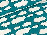 Swafing Baumwolljersey Verena Wolken weiß auf Petrol