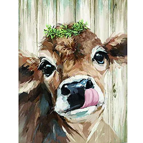 Diamond Painting Kits - Sgokuno Cow Picture 5D Diamond Art for Adults Kids Diamond Painting Kits Accessories Full Drill Kit Crystal Pictures Home Wall Decor Gifts (15.8 x 11.8in)