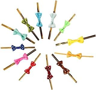 ラッピングタイ リボン付き ミックスカラー 無地 金 ビニタイ 手作り ワイヤータイ プレゼント ギフト 包装用 装飾用 結束用 可愛い 蝶結び 白い点 約100本セット
