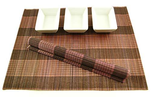 Lot de 6 sets de table faits à la main en bambou – Lot de 6 sets de table en bambou – Respectueux de l'environnement – Noir/marron foncé – P019