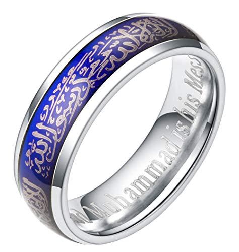 Boomly Unisex Uomini Acciaio al titanio Anelli musulmano Allah Shahada Islam musulmano Arabo Anelli Religioso Accessori per gioielli (Argento, 10)