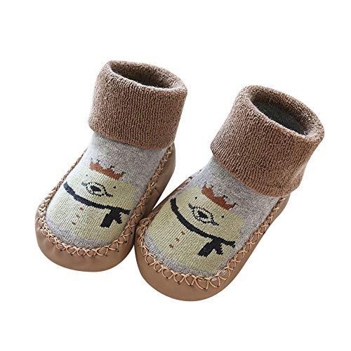 COZOCO Kinder Baby Non-Slip Boot Socken Cartoon Muster warme Schuhe Indoor Hausschuhe Socken dicke Baumwolle Socken(braun-1)
