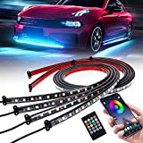 Car Underglow Lights, SUPAREE Exterior Under Car LED Strip Lights with Wireless APP Remote Control, Neon Accent Music Lighting Kit for Outside Golf Ford Truck ATV RZR UTV Boats Off Road AUTO - 4Pcs