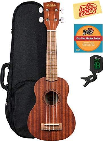 Kala KA-15S Mahogany Soprano Ukulele Bundle with Hard Case, Tuner, Strap, Fender Play, Austin Bazaar Instructional DVD, and Polishing Cloth