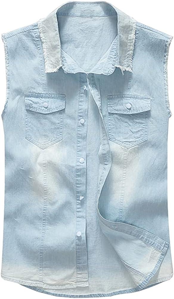 GINZOUS Men's Light Pale Blue Thin Denim Vest