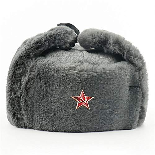 Russen Mütze Herren Sowjetarmee Militärabzeichen Bomber Hüte Für Männer Frauen Wintermütze Russland Ushanka Pilot Earflap Hat-Grey_Soviet_Star