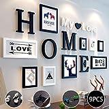 Marco de Fotos 9 Piezas,con letras 'HOME''MY LOVE',4 tamaños:3pcs-8.8*12.8cm,2pcs-12.8*17.8cm,2pcs-19.8*24.8cm,2pcs-31.8*14.7cm, Sala de estar, decoración del hogar del dormitorio,regalos de boda