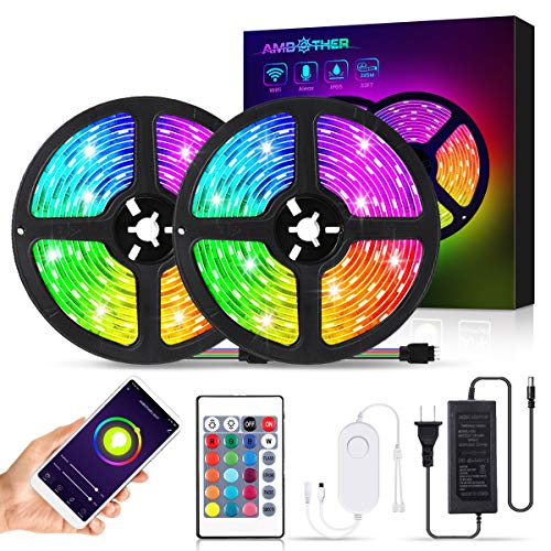 AMBOTHER RGB LED Strip Lights 32.8ft WiFi LED Light Strips Works with Alexa Google Assistant Remote APP Waterproof Dimmable Color Changing Flexible Rope Lights Sync with Music for Bedroom Home Kitchen
