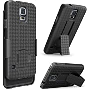 Galaxy S5 Case, i-Blason Transformer Slim Hard Shell Case Holster Combo with Kickstand and Locking Belt Swivel Clip for Samsung Galaxy S5 [Fits AT&T, Sprint, Verizon, T-Mobile] (Black)