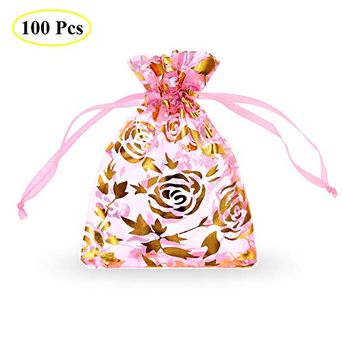 SumDirect Drawstring Organza Bags, Jewelry Favor Pouches with Gold Rose Print for Gift,Wedding,Party,Festival,100Pcs,3.5x4.5inches,Pink