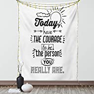 """Ambesonne Inspirational Tapestry, Positive Words Theme Encouragement Words Design Print, Wall Hanging for Bedroom Living Room Dorm Decor, 40"""" X 60"""", White and Black"""