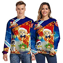 SIXDAYSOX Hilarious Ugly Christmas Sweater for Women Men and Couples Womens Mens Tacky Funny Xmas Sweatshirt Plus size 15 Feature: Long Sleeve, Crewneck, Realistic 3D printed patterns many of colour and size for choose. suitable for people:Christmas Gift to yourself,friends or family member, Men/women/ boy girls,also for couples Scene:Funny Ugly Sweater for Christmas dressed