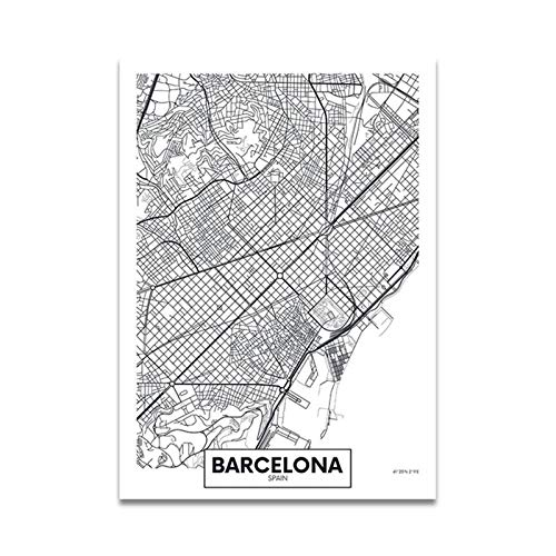 WJWAINI Mundomapa Decora Mural Mapa De La Ciudad De Barcelona Posters Impresiones...