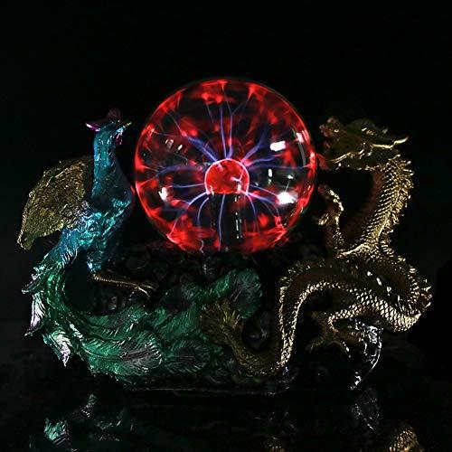 ABILY Vintage Dragon Phoenix Estatua con Horror de Cristal Eléctrico Iluminación Decoración...