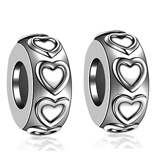 2 PCS 925 de plata de ley de goma del espaciadores tapón abalorios para pulseras Pandora