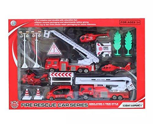 WDK Partner - Yf1016074-Pomp - Coffret Métal 6 Véhicules Pompier