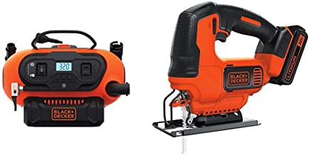 BLACK+DECKER BDINF20C 20V Lithium Cordless Multi-Purpose Inflator (Tool Only) with BLACK+DECKER BDCJS20C 20V MAX JigSaw with Battery and Charger