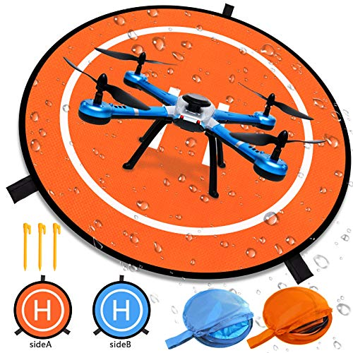 Luminous Drone Landing Pad Glow in The Dark Waterproof 30'' Universal Landing Pad Accessories Fast-fold Double Sided Quadcopter Landing Pad for RC Drones Helicopter PVB Drones DJI Mavic Pro Spark