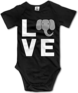 V5DGFJH.B Toddler Climbing Bodysuit Love Elephant Infant Climbing Short-Sleeve Onesie Jumpsuit