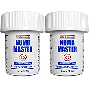 Numb Master 5% 2 Pack Lidocaine Topical Numbing Cream Maximum Strength Long-Lasting Pain Relief Fast Acting Topical Anesthetic Cream with Aloe Vera Vitamin E Lecithin with Child Resistant Cap