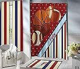 Mike21Browne Red Sport Duschvorhänge für Kinder Basketball Fußball Baseball Duschvorhang Teen Boys gestreiften Duschvorhang 152