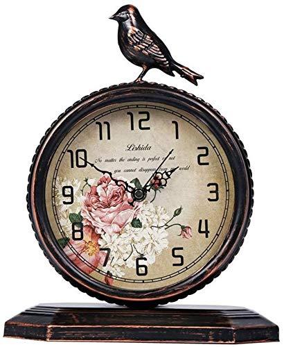 Retro nostalgische klok, stille metalen klok, quartz uurwerk, HD glas, makkelijk te lezen, op batterijen, woonkamer slaapkamer decor (Color : B)