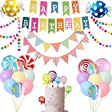CANDYLAND PARTY DECORATIONS - This pack includes 6 foil candy balloons, 10 latex balloons, 4 marble balloons, 6 cake toppers and 3 banners MARBLE BALLOONS - There are 4 colorful marble balloons in this pack, just like sweet candies, very cute and bea...