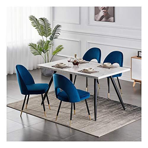 Greneric 2X Samt Esszimmerstühle Blau Küchenstühle Wohnzimmerstühl Bürostuhl Weich Kissen Sitz und Rücken Mit Gold Metallbeinen Küche Stühle für Hause und Wohnzimmer (Dunkel blau, 2)