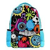 Mochila azul para niños y libros, mochila de viaje, bolsa de viaje, divertida, calavera, guitarra, rock, música