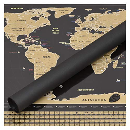 Perfect Travel Map - Mapamundi Negro rascar viajeros