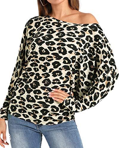 YOINS Seksowna koszulka damska z odsłoniętymi ramionami, koszulka z krótkim rękawem, sweter seksowny, panterka, wiosna i lato, t-shirt, topy, bluzki, panterki, 04 L