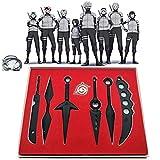 Enemy Nuevo Material Negro 7 / PCS Conjunto de Cosplay, Naruto Ninja Arma Metal Naruto Sword Shen Nana Cosplay Juguete, Cosplay Accesorios de Disfraces para niños Adultas