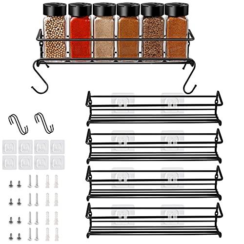 Especiero de cocina autoadhesivo – Estanterías metálicas para especias con Cuatro estantes – Práctico organizador de especias negro