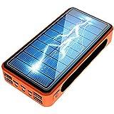 80000Mahソーラー電源銀行4 USBタイプC Poverbank強力なキャンプLEDライトポータブル充電器屋外旅行の緊急バッテリー、ブラック