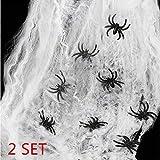 heekpek 130g Tela de Araña con 16 Arañas Decoraciones de Halloween Telarañas Haunted House Arañas de Plástico de Halloween Negras para Materiales de Fiesta de Halloween o...