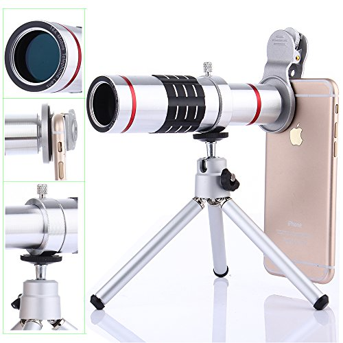 Kits de lentes de cámara, WMTGUBU 6 en 1 HD Teléfono con clip universal Objetivo óptico de 18X Teleobjetivo + 18X Lente Super macro + 0.6X Lente gran angular Trípode para iPhone Samsung Huawei Ipad Tablet PC Portátiles (Silver)