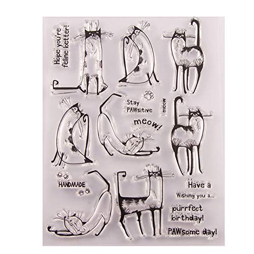 4.3 by 5.9 Inches Cats Animals Words Letters Clear Rubber Stamps for Scrapbooking Card Making Christmas Clear Stamps