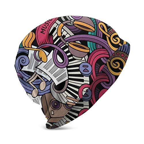 Tema Musical Dibujado a Mano Instrumentos Abstractos Batería de micrófono Teclado Stradivarius, Unisex Teen Varios Estilos de Gorro de Punto