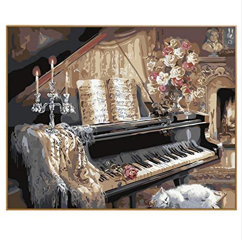 YUUWO Foto's Schilderen Door Getallen Diy Digitale Kleurplaten Canvas Olie Schilderen Home Decor Muur Kunst Spelen De Piano Onder Kaars Licht 40x50cm