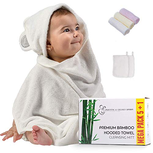 Premium Mega Pack   Bamboo Hooded Baby Towel and Washcloths Set - Hypoallergenic Bath Towel for Kids, Infants and Toddlers for Girls and Boys (Grey)