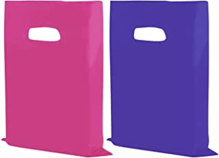 "Houseables Merchandise Bags, Retail Shopping Goodie Bag, Plastic, 16"" x 18"", 100 Pack, 1.75 Mil Thick, Low Density, Glossy, Pink and Purple Color, with Handles, for Stores, Boutiques, Clothes, Books"