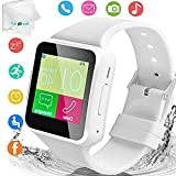 TOPEPOP Smart Watch Touch Screen Smartwatch Unlocked Watch Bluetooth Calls Wrist Watch Fitness Tracker Sleep Monitor with Camera SIM Card Slot Compatible with Android Phone Samsung S10 S9 S8 S7