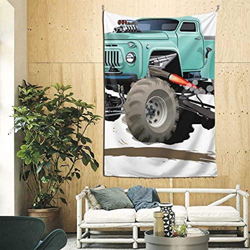 N\A Tapiz de decoración de Dibujos Animados Monster Truck Hombre Tapiz de Pared Arte de Pared para apartamento Dormitorio telón de Fondo decoración del hogar