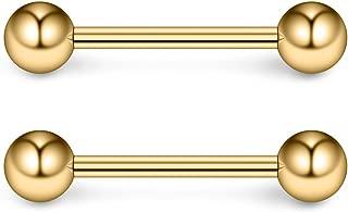 Ruifan 316L Stainless Steel Nipple Shield Barbell Ring Bar Body Piercing 16G 12mm 2-12PCS
