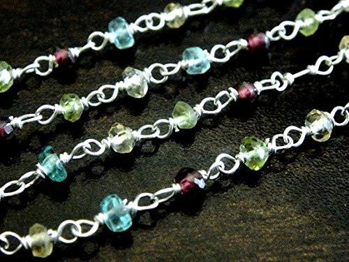 World Wide Gems Perlas de piedras preciosas multipiedra rosario cadena de abalorios, plata de ley, Apatita, Perit, Granate, Citrino, 1 pies, 3 mm, Wholesale Findings Code-HIGH-70204