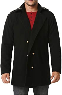 HEFASDM Men Double-Breasted Trench Coat Outwear Embroidery Trench Coat Outwear