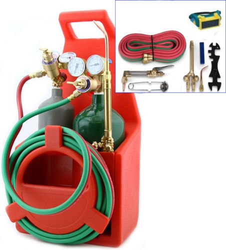 9TRADING Professional Portable Oxygen Acetylene Oxy Welding Cutting Weld Torch Tank Kit